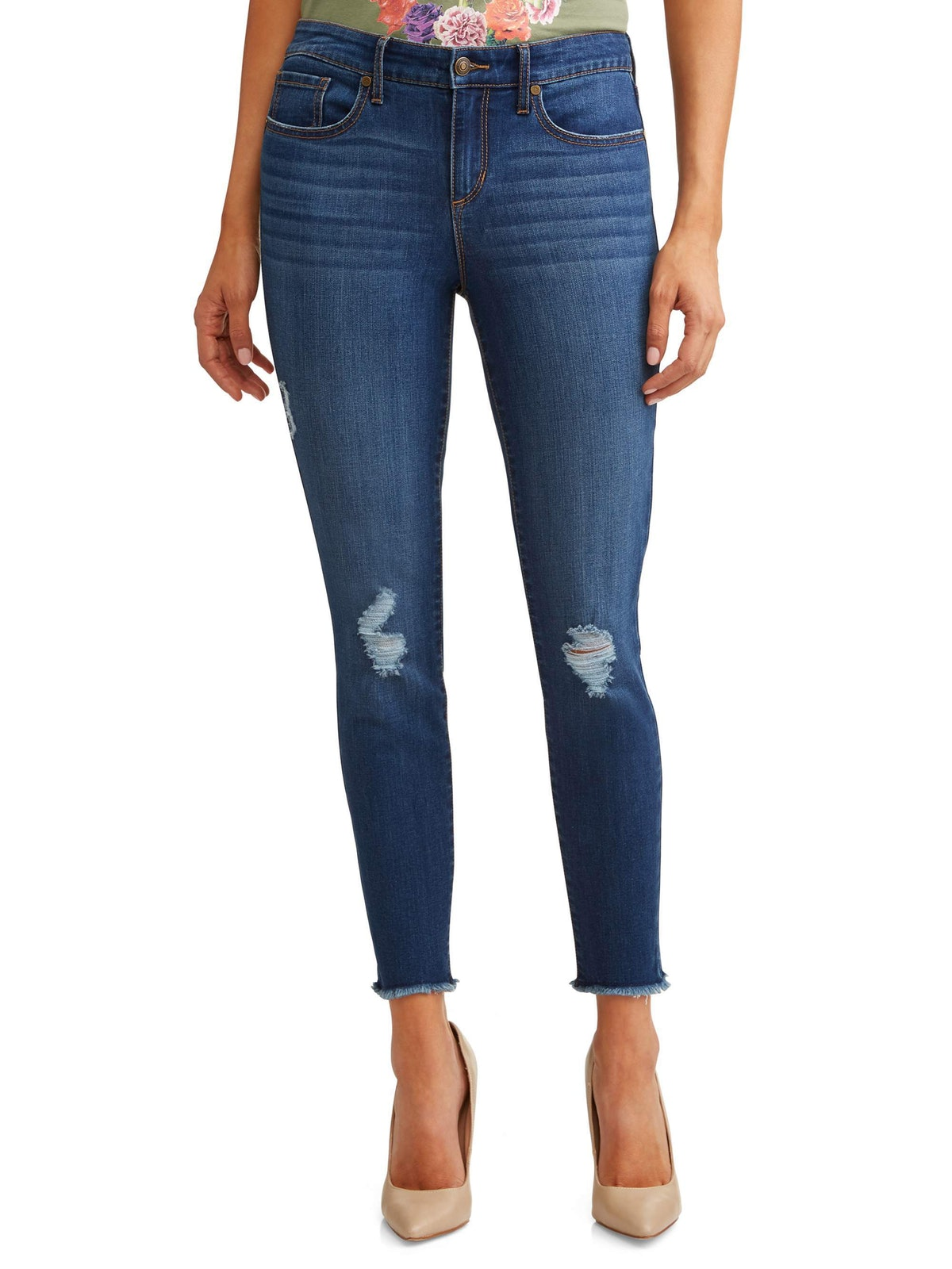 Sofía Skinny Destructed Mid Rise Ankle Jean Women's