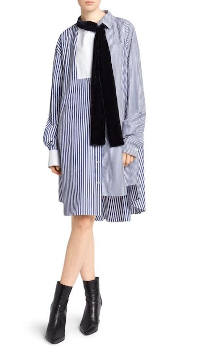 Pinstripe Mixed Shirting Dress