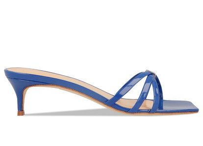 Libra Blue Patent Leather Mules