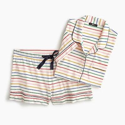 Dreamy Short-Sleeve Cotton Pajama Set In Stripe