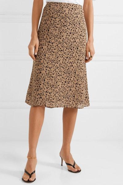 Mia Leopard-Print Georgette Midi Skirt
