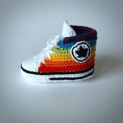 Crochet Rainbow Sneakers Baby Booties