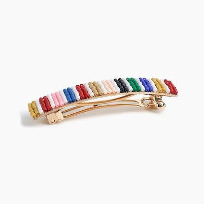 Beaded Barrette In Rainbow Mini Stripe