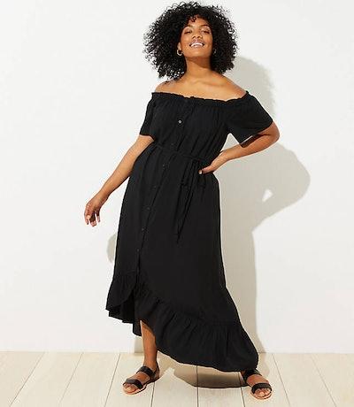 Off-The-Shoulder Button Through Dress