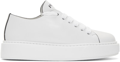 White Cassetta Logo Platform Sneakers