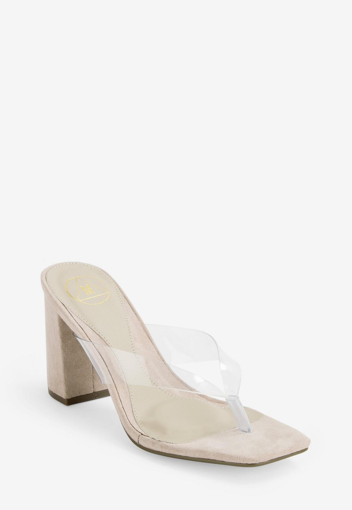 nude clear thong mid heel mules