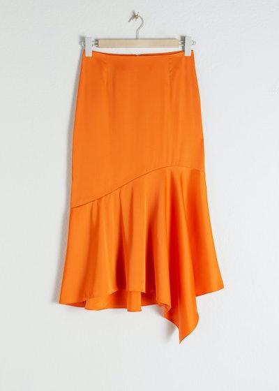 Satin Handkerchief Midi Skirt