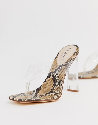 Simmi London Jemima clear thong detail square toe heeled sandals