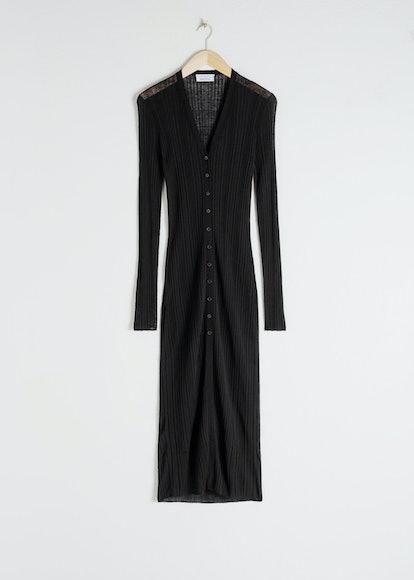 Sheer Knitted Cardigan Dress