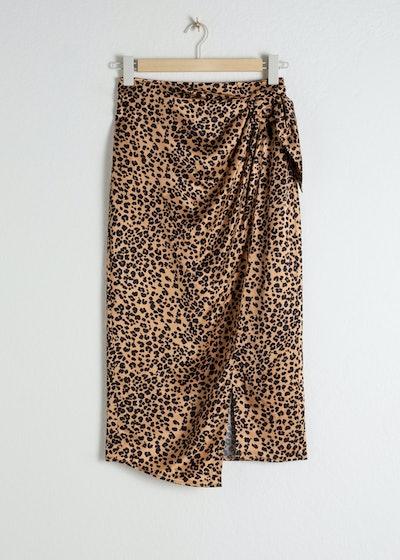 Satin Leopard Sarong Skirt