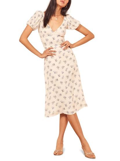 Kacey Print Puff Sleeve Midi Dress