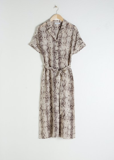 Belted Snake Print Midi Dress