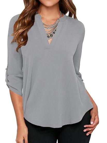 Roswear Women's Casual V Neck Solid Chiffon Blouse