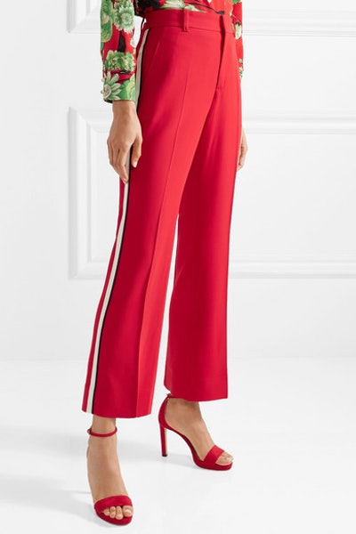 Grosgrain-Trimmed Cady Bootcut Pants