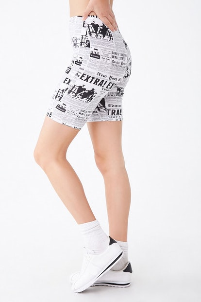 Newspaper Print Biker Shorts