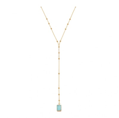 Amazonite Gold Lena Lariat Necklace