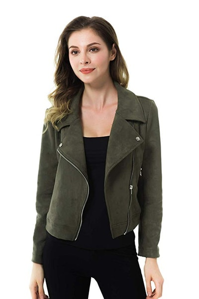 Apperloth Faux Suede Short Moto Biker Jacket