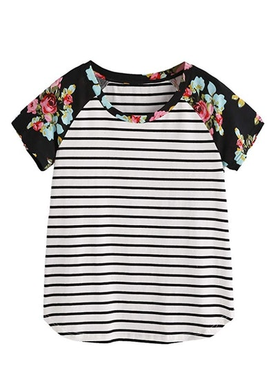 Romwe Women's Floral Print Short Sleeve Top