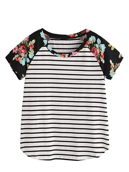 Romwe Women's Floral Print Short Sleeve Top