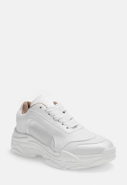 white satin panel chunky sneakers