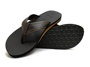 KuaiLu Men's Yoga Mat Leather Flip-Flops