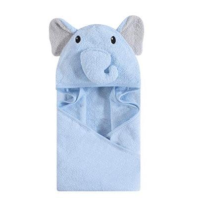 Hudson Baby Unisex Baby Animal Face Hooded Towel, Blue Elephant