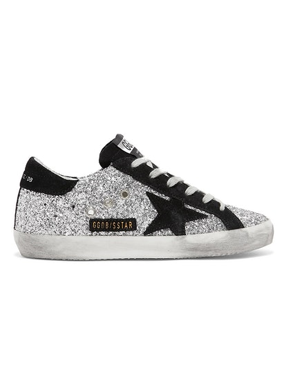 Superstar Glittered Leather And Suede Sneakers