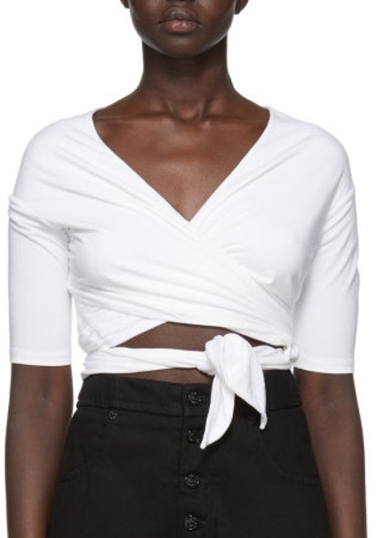 White Stretch Jersey Double Layer Wrap T-Shirt