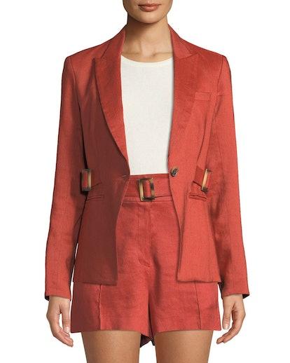 Baltazar Linen Peplum Dickey Jacket & Makayla Belted High-Rise Linen Shorts