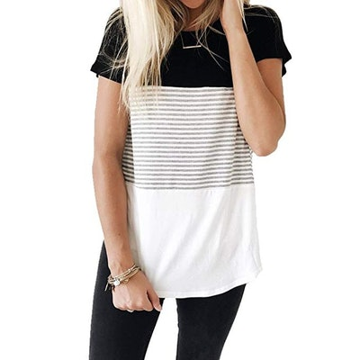 YunJey Short Sleeve Round Neck Triple Color Block Stripe T-Shirt