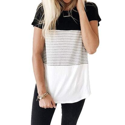 YunJey Short Sleeve Round Neck Triple Color Block Stripe T-Shirt