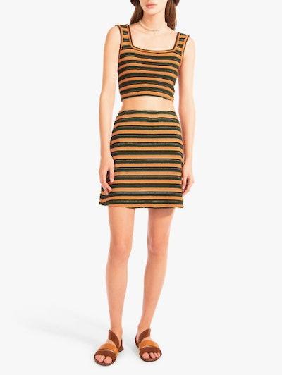 Lola Skirt in Pistachio Cantaloupe Stripe