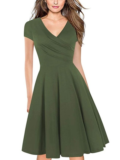 Oxiuly Women's Criss-Cross V-Neck Tea Swing Dress