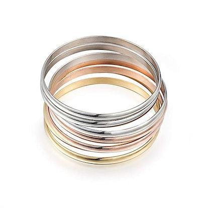 Caperci Women's Stainless Steel Bracelet Bangles (Set of 7)