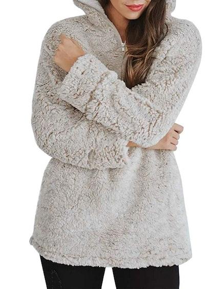 ZESICA Women's Autumn Winter Long Sleeve Half-Zip Sherpa Fleece Pullover
