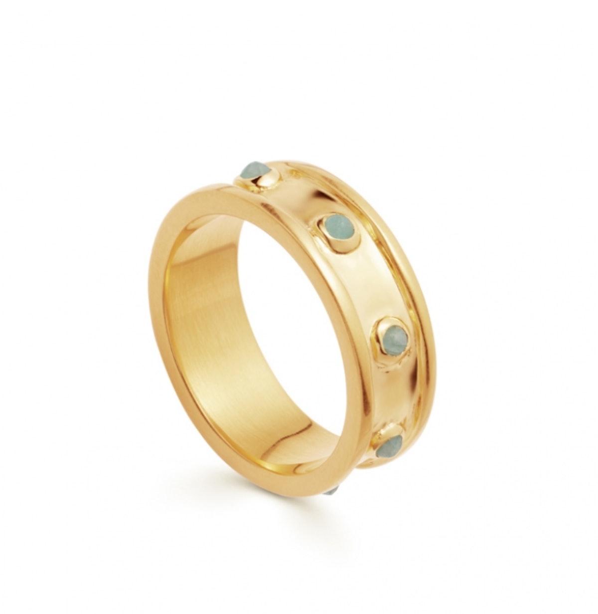 Amazonite Gold Calima Ring