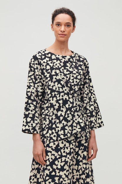 Pleated Abstract-Print Blouse