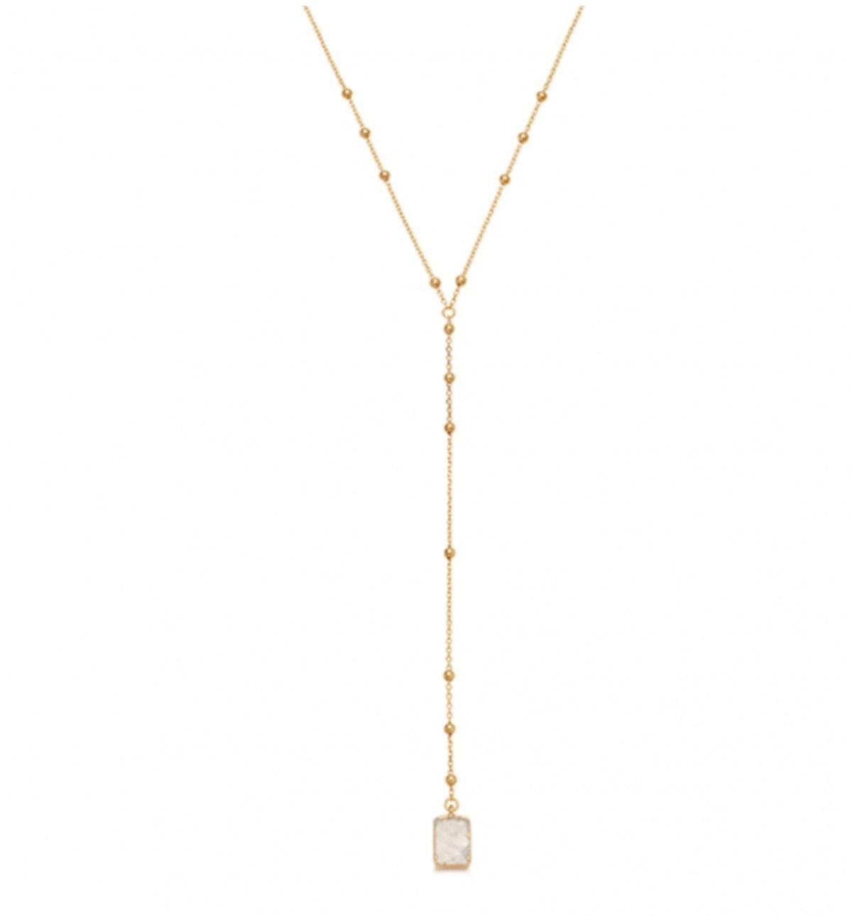 Rainbow Moonstone Gold Lena Lariat Necklace