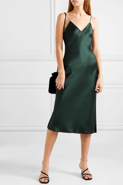 The Raven Silk-Charmeuse Midi Dress