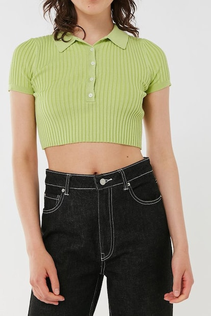 Grassy Cropped Polo Sweater Top