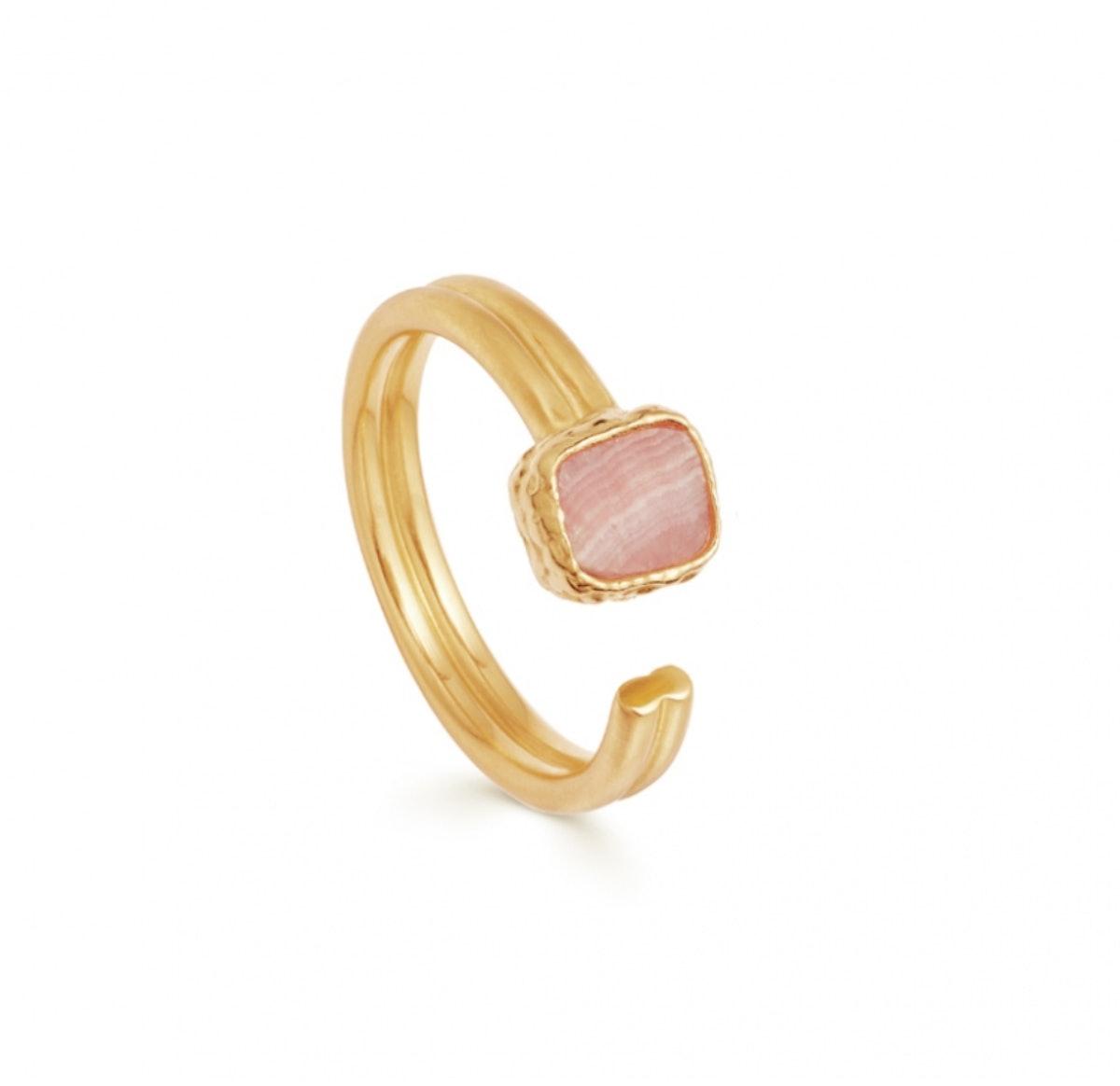 Rhodochrosite Gold Lena Ring