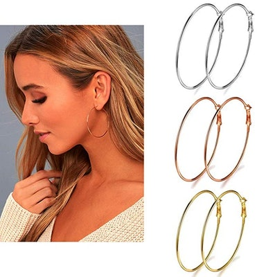 Earmark Stainless Steel Hoop Earrings (3 Pack)