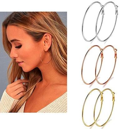 Earmark Stainless Steel Hoop Earrings (3 Pack)