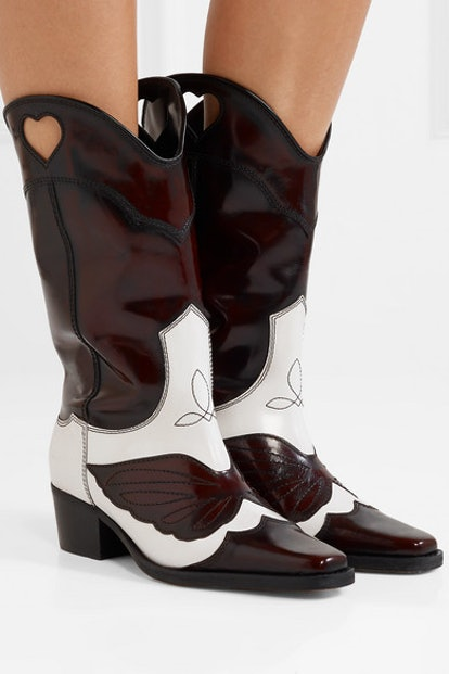 Two-Tone Embroidered Leather Cutout Boots