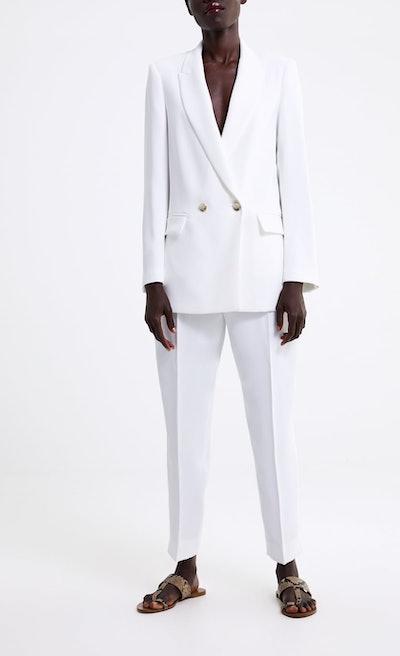 Metal Button Blazer & Pants With Asymmetric Hem