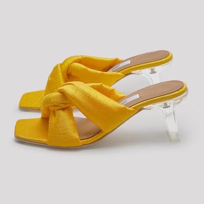 Gracia Yellow Silk Sandals