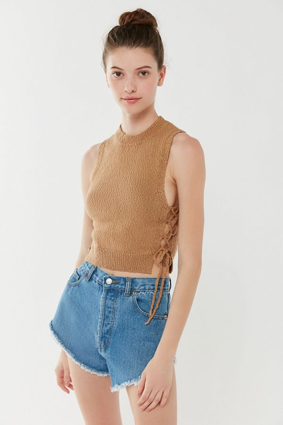 UO Sapphire Side-Tie Cropped Tank Top