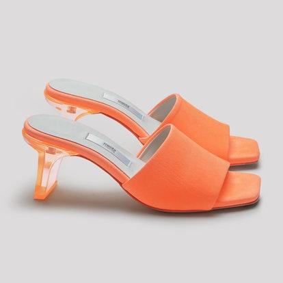 Gabriella Neon Orange Leather Sandals