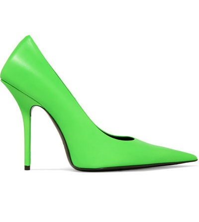 Square Knife Neon Leather Pumps