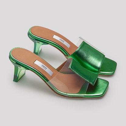 Indira Clear Vinyl Green Metallic Leather Sandals